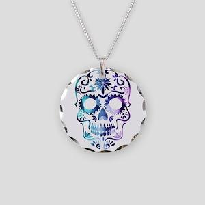 Blue & Purple Sugar Skull Necklace Circle Charm