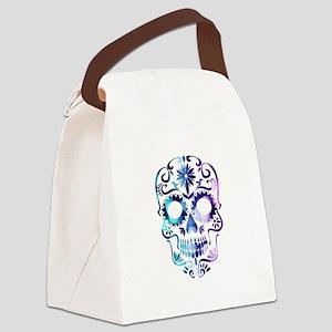 Blue & Purple Sugar Skull Canvas Lunch Bag