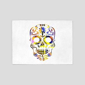Blue & Yellow Sugar Skull 5'x7'Area Rug