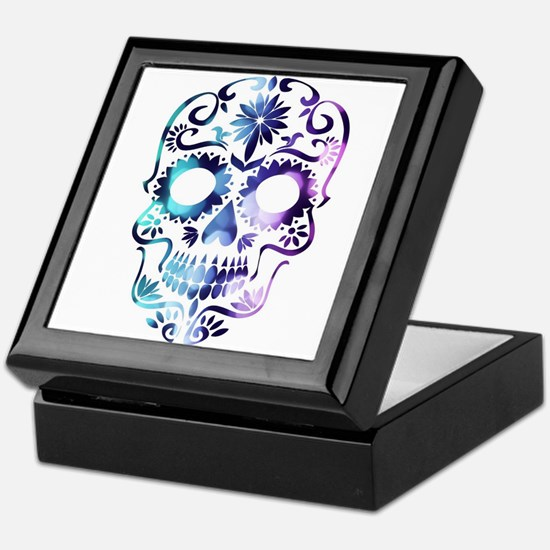 Blue & Purple Sugar Skull Keepsake Box