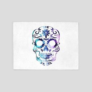 Blue & Purple Sugar Skull 5'x7'Area Rug