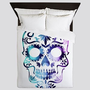 Blue & Purple Sugar Skull Queen Duvet