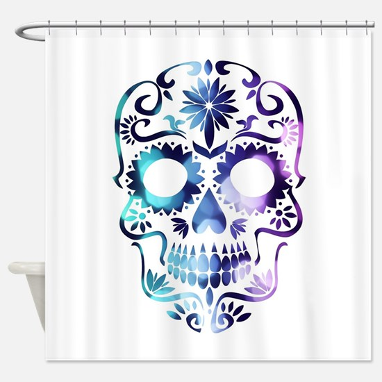 Blue & Purple Sugar Skull Shower Curtain