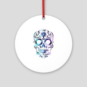 Blue & Purple Sugar Skull Round Ornament