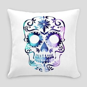 Blue & Purple Sugar Skull Everyday Pillow