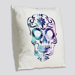 Blue & Purple Sugar Skull Burlap Throw Pillow
