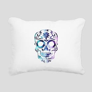 Blue & Purple Sugar Skul Rectangular Canvas Pillow