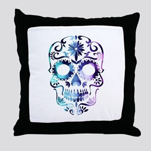 Blue & Purple Sugar Skull Throw Pillow