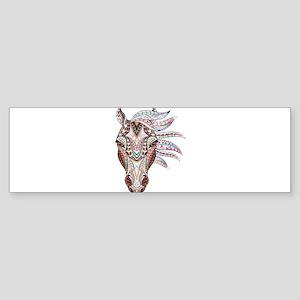 Colorful Horse Head Bumper Sticker