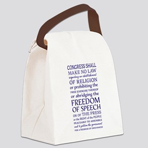 Freedom of Speech First Amendment Canvas Lunch Bag