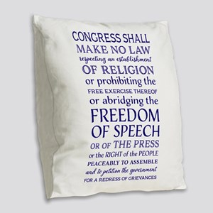 Freedom of Speech First Amendm Burlap Throw Pillow