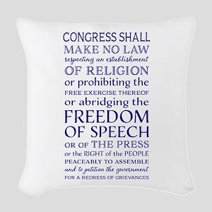 Freedom of Speech First Amendm Woven Throw Pillow