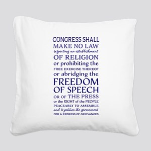Freedom of Speech First Amend Square Canvas Pillow