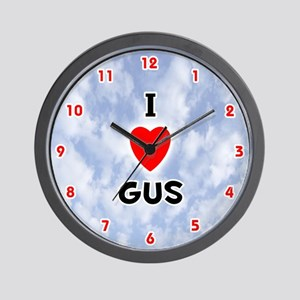 I Love Gus (Red/Blk) Valentine Wall Clock