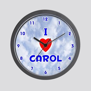 I Love Carol (Blue) Valentine Wall Clock