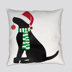 Christmas Black Lab Holiday Dog Everyday Pillow