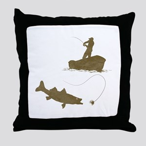 Boat Fishing Throw Pillow