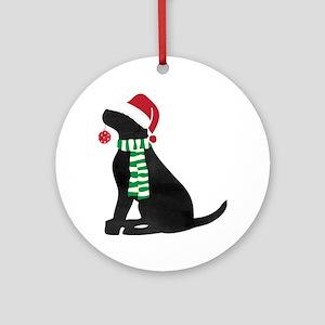 christmas black lab holiday dog round ornament