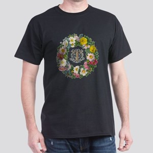 "Wreath of Rosa with ""T"" Dark T-Shirt"