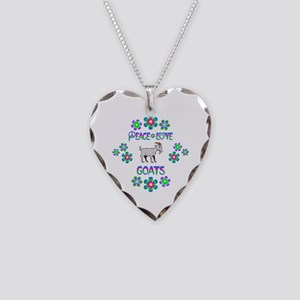 Peace Love Goats Necklace Heart Charm