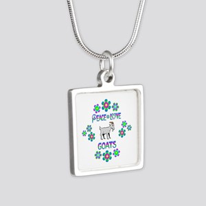 Peace Love Goats Silver Square Necklace