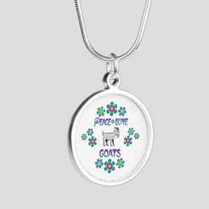 Peace Love Goats Silver Round Necklace