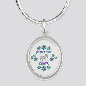 Peace Love Goats Silver Oval Necklace