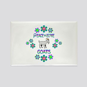 Peace Love Goats Rectangle Magnet
