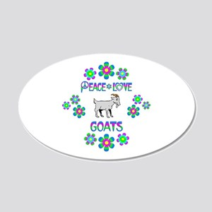 Peace Love Goats 20x12 Oval Wall Decal