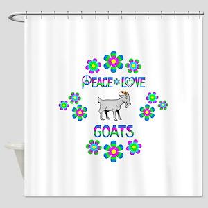 Peace Love Goats Shower Curtain