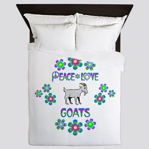 Peace Love Goats Queen Duvet