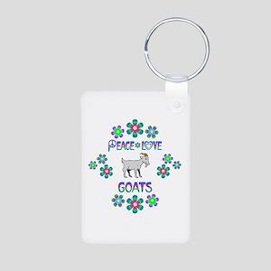 Peace Love Goats Aluminum Photo Keychain