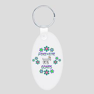 Peace Love Goats Aluminum Oval Keychain