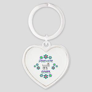 Peace Love Goats Heart Keychain