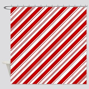 red christmas candy cane Shower Curtain