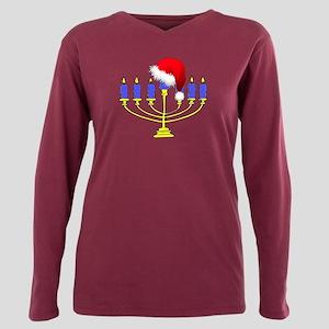 Christmas Menorah Plus Size Long Sleeve Tee
