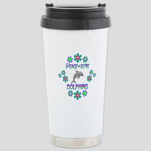 Peace Love Dolphins Stainless Steel Travel Mug