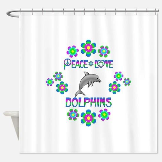 Peace Love Dolphins Shower Curtain