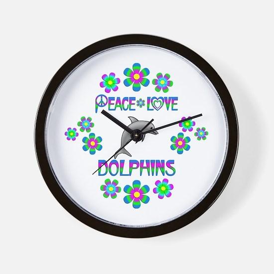 Peace Love Dolphins Wall Clock