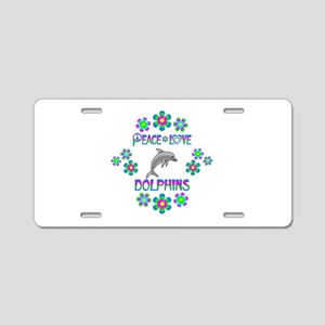Peace Love Dolphins Aluminum License Plate