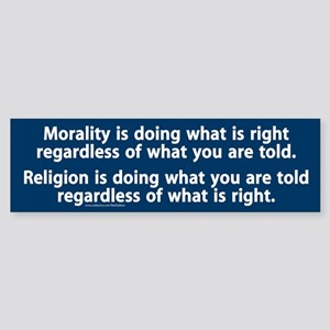 Morality v. Religion Bumper Sticker