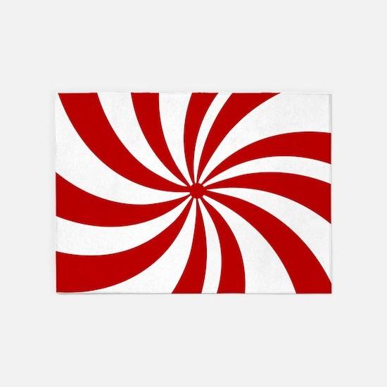 Xmas candy cane swirls 5'x7'Area Rug
