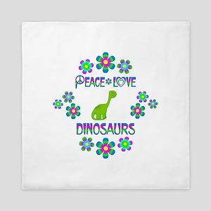 Peace Love Dinosaurs Queen Duvet