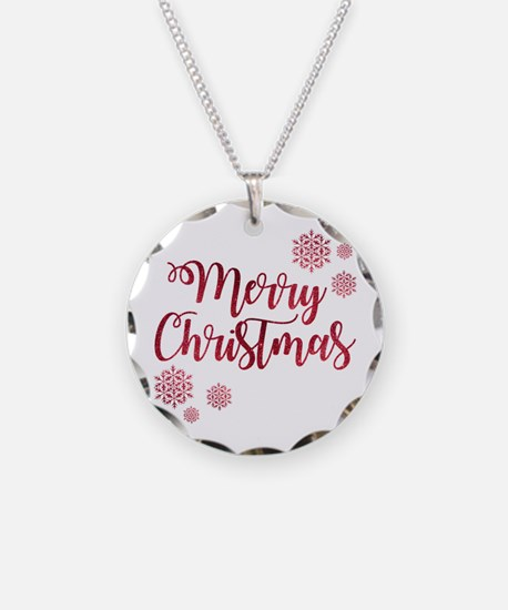 Cute Merry christmas Necklace Circle Charm