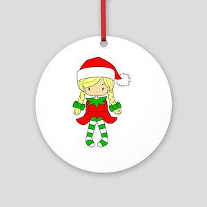 Blonde Elf Girl Round Ornament