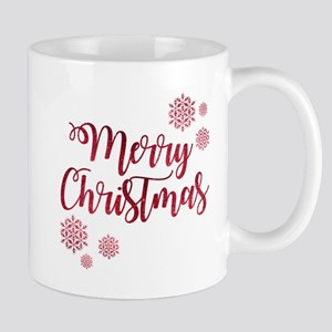 Merry Christmas Red Glitter Script Snowflakes Mugs