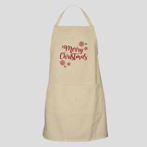 Merry Christmas Red Glitter Script Snowflake Apron