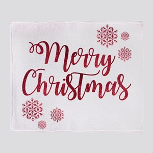 Merry Christmas Red Glitter Script S Throw Blanket