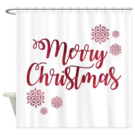Merry Christmas Red Glitter Script Shower Curtain By Admin CP79877276
