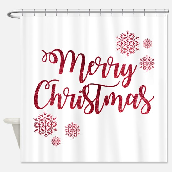 Merry Christmas Red Glitter Script Shower Curtain